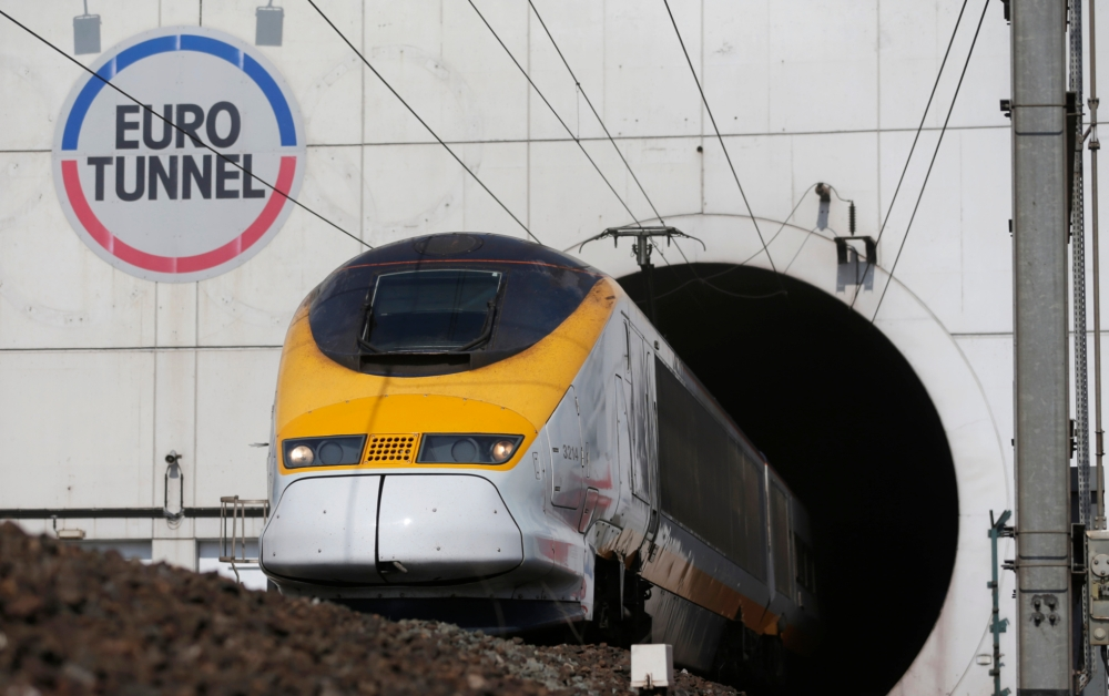 A high-speed Eurostar train exits the Channel tunnel in Coquelles