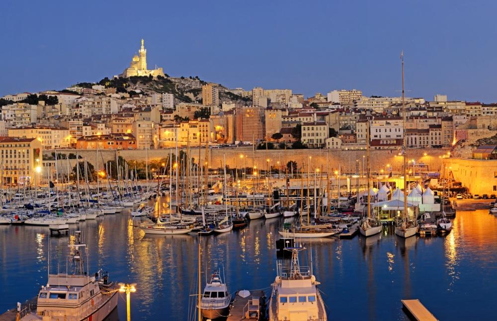 Marseille harbour night